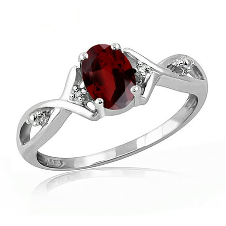 1.00 Carat T.G.W. Garnet Gemstone and Accent White Diamond -