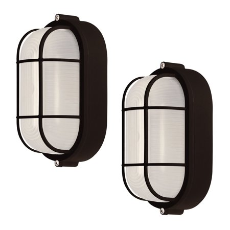 2 Pack Weatherproof Bulkhead Oval Flushmount Exterior Light for Wet Locations, Black
