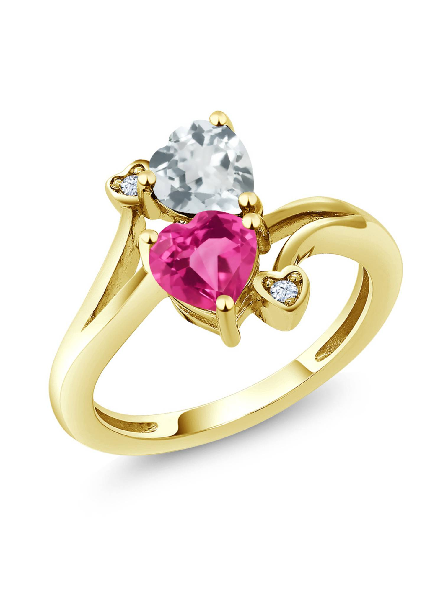 1.50 Ct Pink Created Sapphire Sky Blue Aquamarine 10K Yellow Gold Ring by