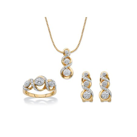 57a6f3b5b1d Round Diamond Crossover Journey 3-Piece Earring, Ring and Necklace Set 1/4  TCW 14k Gold-Plated 18