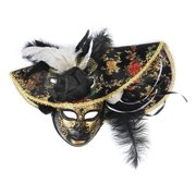 Loftus Feather Hat Full Face Masquerade Venetian Mask, Black, One Size