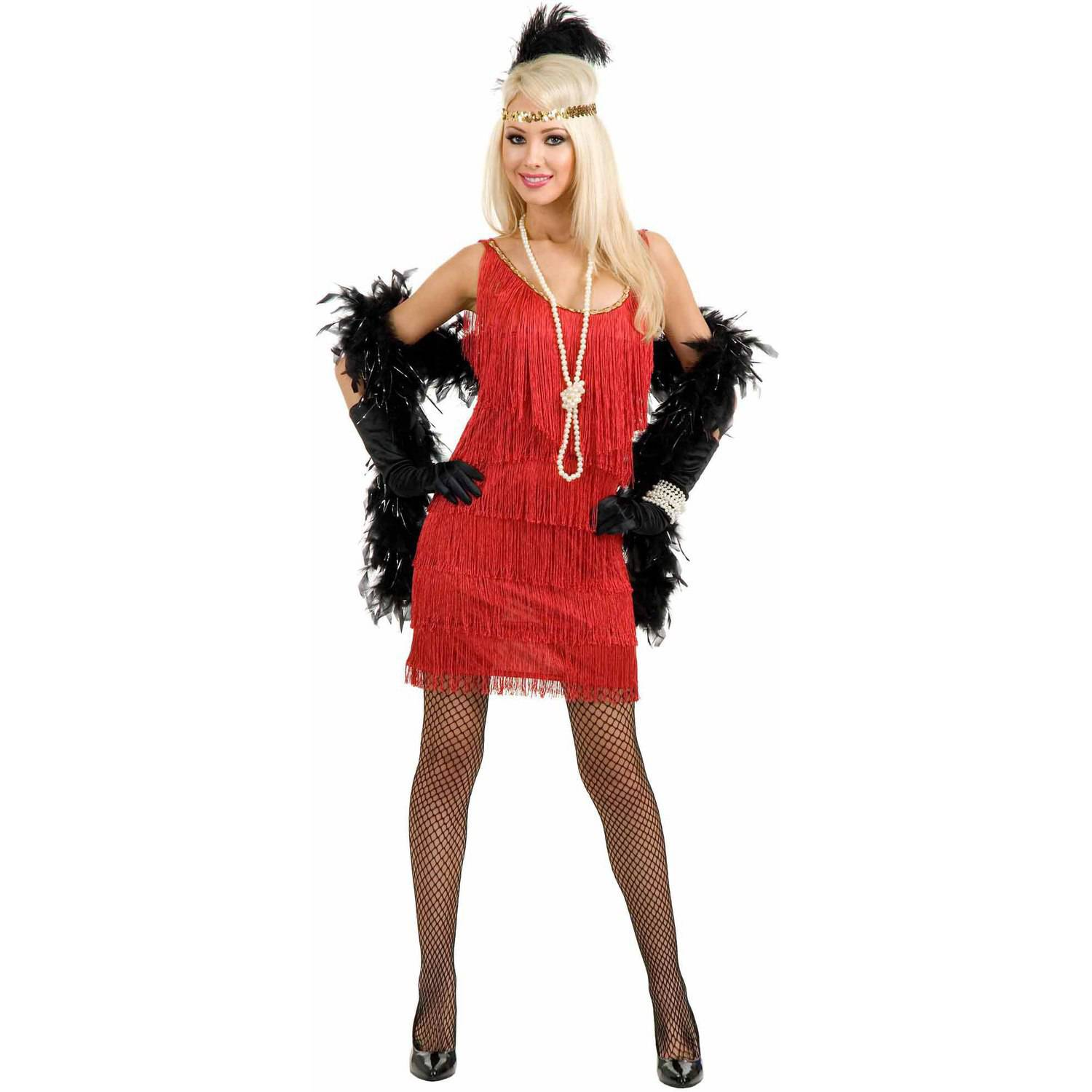 Fashion Flapper Red Plus Size Women's Adult Halloween Costume