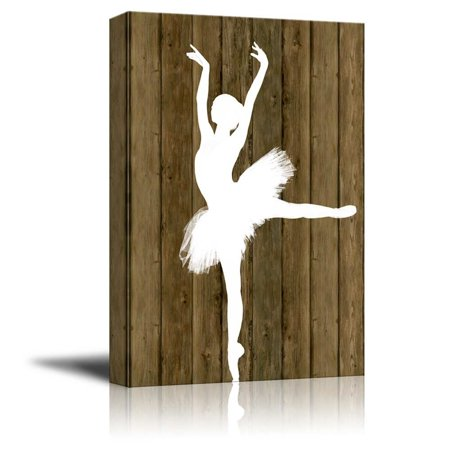 wall26 Ballet Dancing Canvas Wall Art - White Ballet Dancer Silhouette on Rustic Wood Background - Stretched Gallery Wrap Ready to Hang Home Decoration - 16x24 - Dancers Silhouette