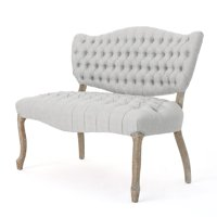 Jenny Traditional Fabric Button Tufted Settee, Light Gray