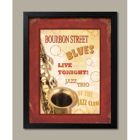 Framed New Orleans Jazz III Best Ad Black Modern Classy Jazz Sign Quality Easy Mardi