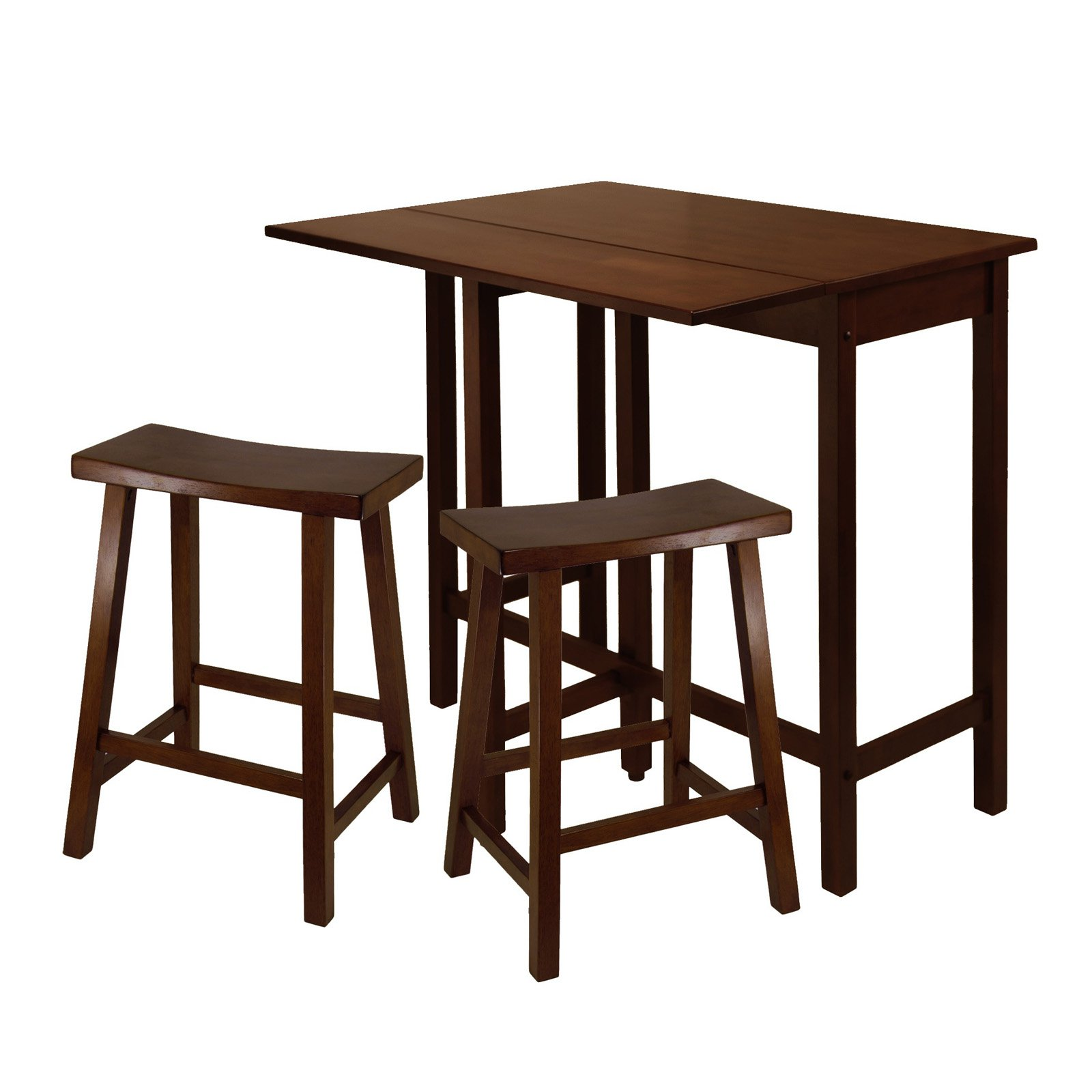 """Lynnwood 3-Pc High Drop Leaf Table with 24"""" Saddle Seat Stool"""