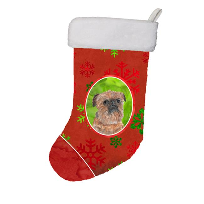 Carolines Treasures SC9586-CS Brussels Griffon Red Snowflakes Holiday Christmas Stocking, 11 x 8 In. - image 1 of 1