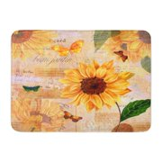 LADDKE Vintage Hand Watercolor Sunflowers and Butterflies on Toned Scraps of Old Doormat Floor Rug Bath Mat 30x18 inch