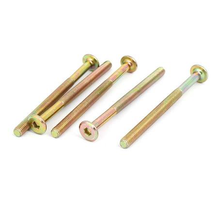 M6 x 80mm Partically Thread Hexagon Socket Head Cap Screw Bolt Bronze Tone 5pcs - image 4 of 4