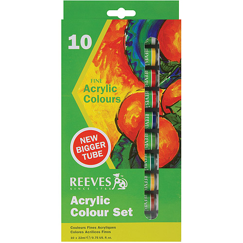 Reeves Acrylic Paints 22ml, Assorted Colors, 10/pkg