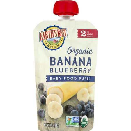 Earths Best Stage 2 Second Foods Banana Blueberry Baby Food Puree  4 Oz