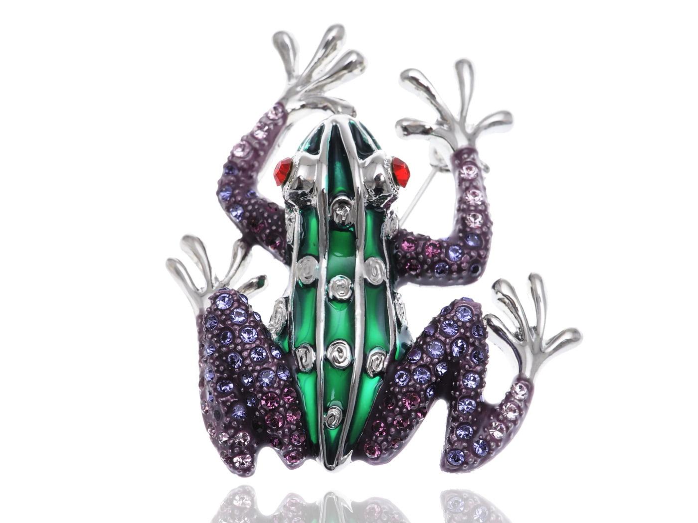 Cute Ruby Eyed Crystal Rhinestone Frog Prince Green Body Silver Feet Pin Broach by