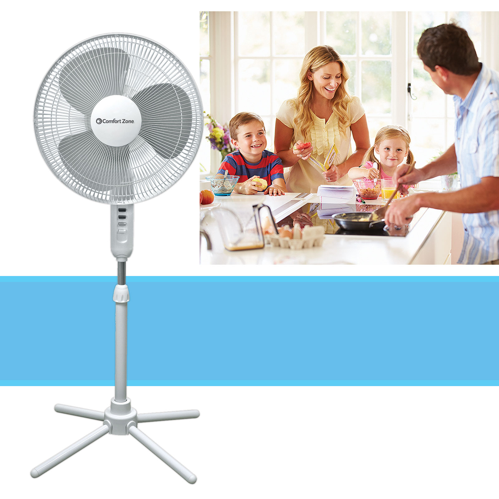 "16"" Oscillating Adjustable 3 Speed Pedestal Stand Fan, White"