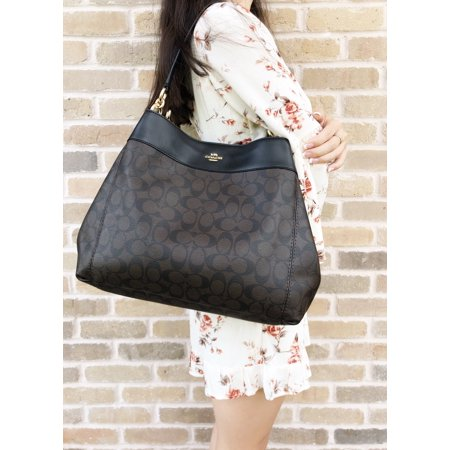 Signature Leather Baguette Bag (Coach F27972 Lexy Shoulder Bag Brown Signature Black Leather Trim )