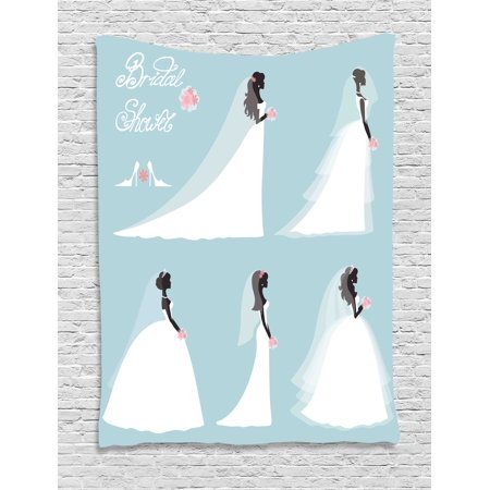 Bridal Shower Decorations Tapestry, Fashion Design Wedding Bride Dress with Flowers, Wall Hanging for Bedroom Living Room Dorm Decor, 40W X 60L Inches, Baby Blue White and Black, by Ambesonne - Flowers For Dresses