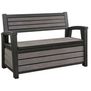 Keter Hudson 60 Gal Plastic Outdoor Backyard Patio Storage Bench Deck Box, Brown