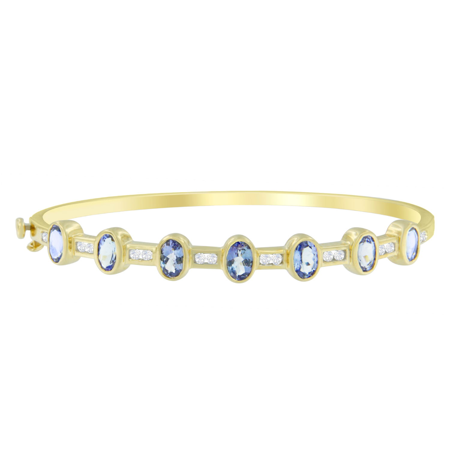 14KT Yellow Gold 3.44ct TDW Round-Cut Diamond and Tanzanite Bracelet (H-I,I1-I2) by VJG