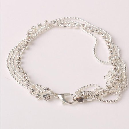 Outtop Multi Layer Silver Crystal Ball Bracelet Anklet Ankle Foot Chain Women Jewelry