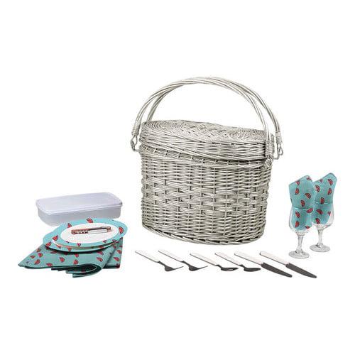 """Picnic Time Romance Picnic Basket  15.8"""" x 12"""" x 12"""""""