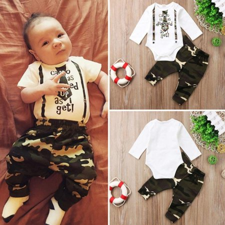 Camouflage Outfit Ideas (Newborn Baby Boys Camo Romper Tops Pants 2Pcs Home Outfits Set)