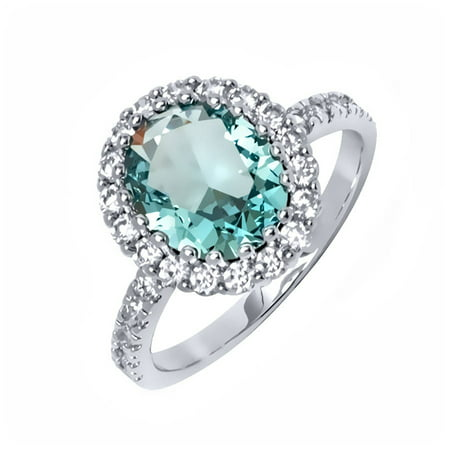 Aqua and White Russian CZ 18kt White Gold-Tone Oval Ring