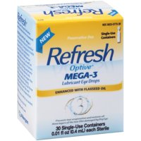 Refresh Optive Lubricant Eye Drops Mega-3, 30 Ct