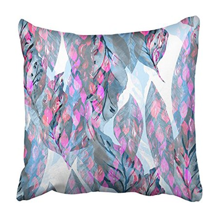 ARHOME Leaves Pattern Watercolour Painting All Over Foliage Green Leaf Small Hand Pillowcase Cushion Cover 18x18 inch
