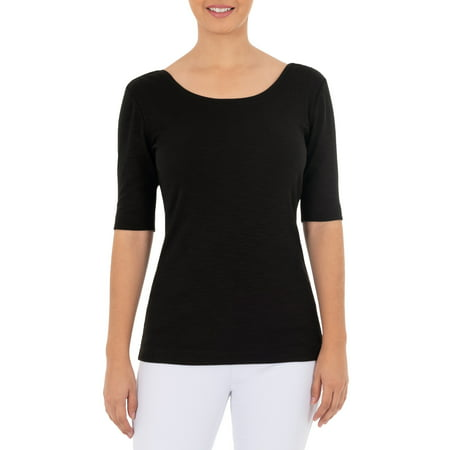 Time and Tru Women's Elbow Sleeve Scoop Neck T-Shirt True Fit T-shirts