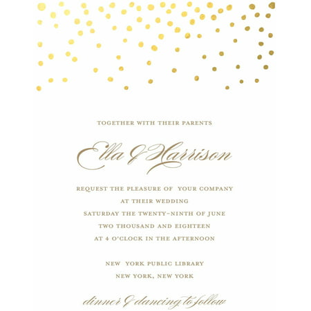 Gold Dots Standard Wedding Invitation Golden Wedding Anniversary Invitations