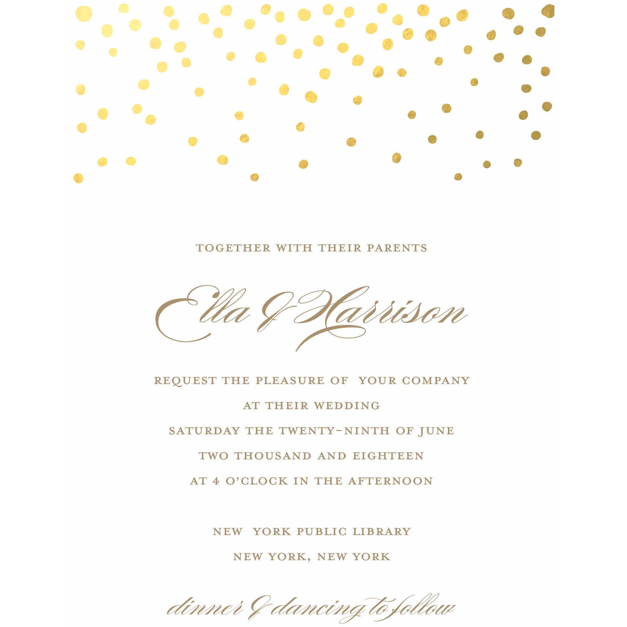 Gold Dots Standard Wedding Invitation