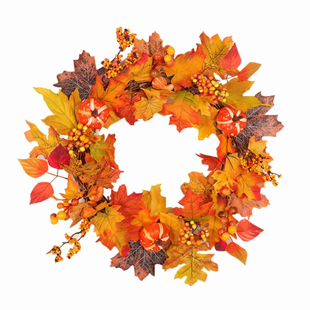"""50CM Fall Christmas Wreath, Thanksgiving Day 19.68"""" Berry Maple Leaf Fall Door Wreath Crafts Door Wall Ornament Home Decoration"""