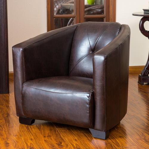 Christopher Knight Home Dale Brown Leather Club Chair by Overstock