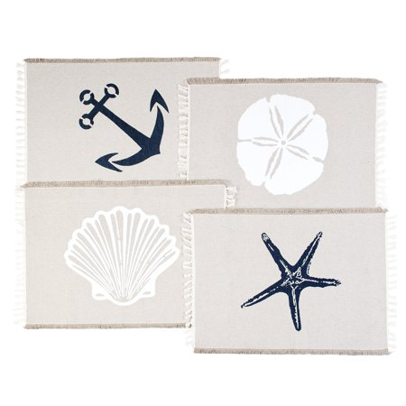 Living Fashions Table Placemats Set By 4 Beach Themed Nautical Kitchen Place Mats For The Dining Table Made With 100% Washable Cotton - Seashell, Sand Dollar, Starfish & Anchor Designs With Fringes ()