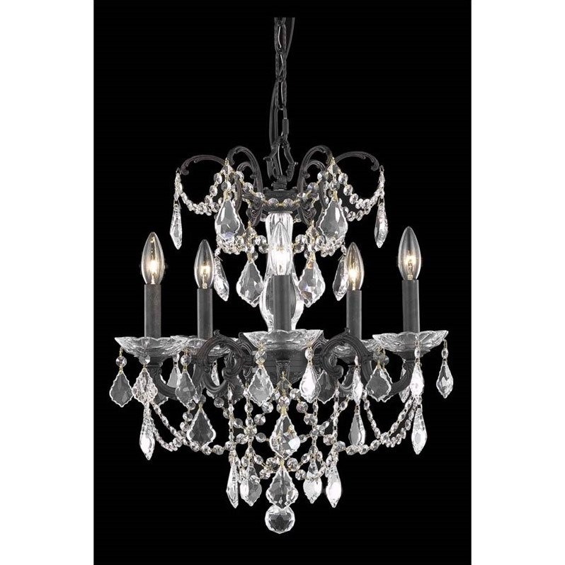 "Elegant Lighting Athena 18"" 5 Light Elegant Crystal Chandelier"