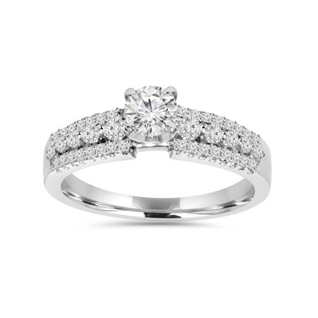 5/8ct Pave Diamond Engagement Ring 14K White Gold