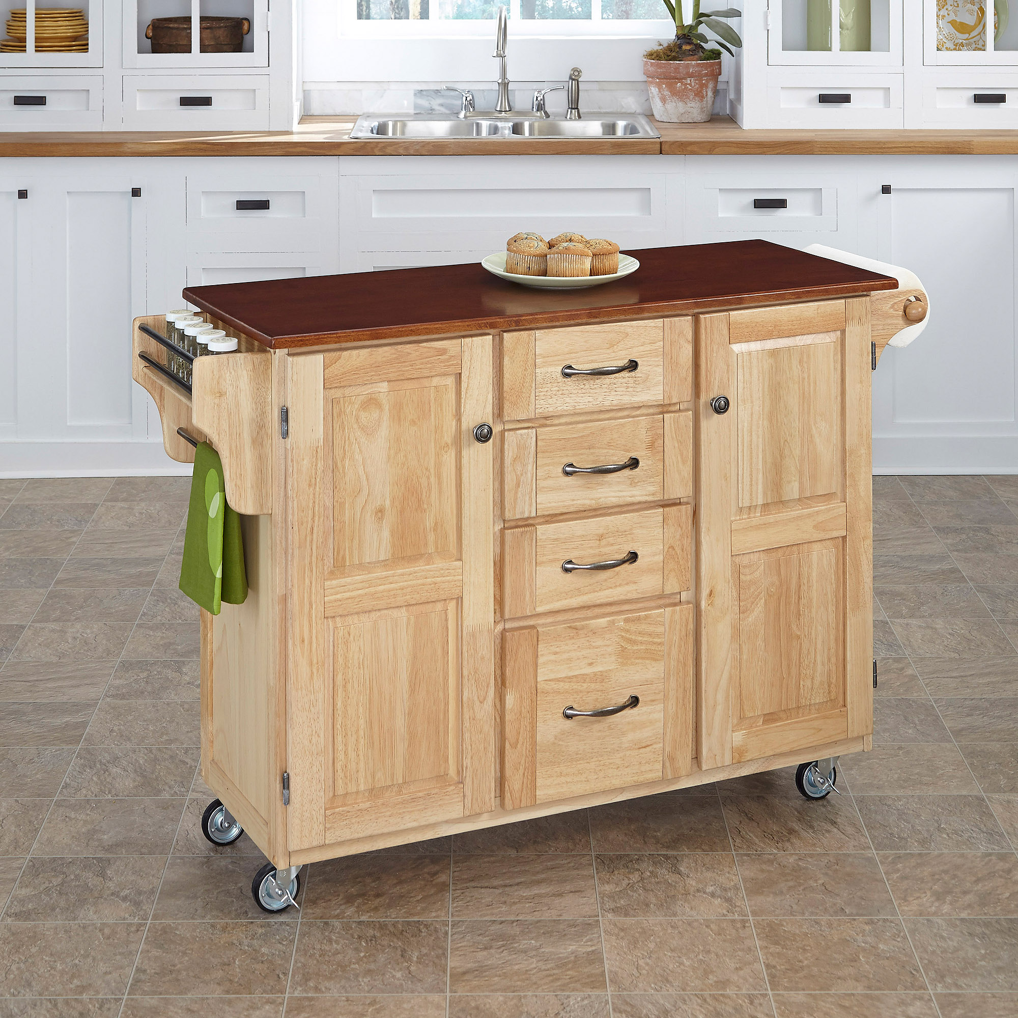 Home Styles Create-a-Cart, Natural with Cherry Top