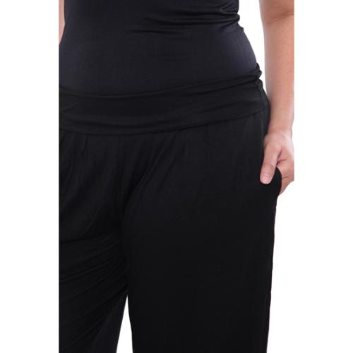 White Mark Women's Plus Size Solid Harem Pants Black Plus Harem Pants - 1XL