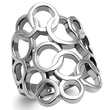 High Polished Fashion (Women's Stainless Steel Ring 316 High Polished Wide Band Fashion Ring Size 10)
