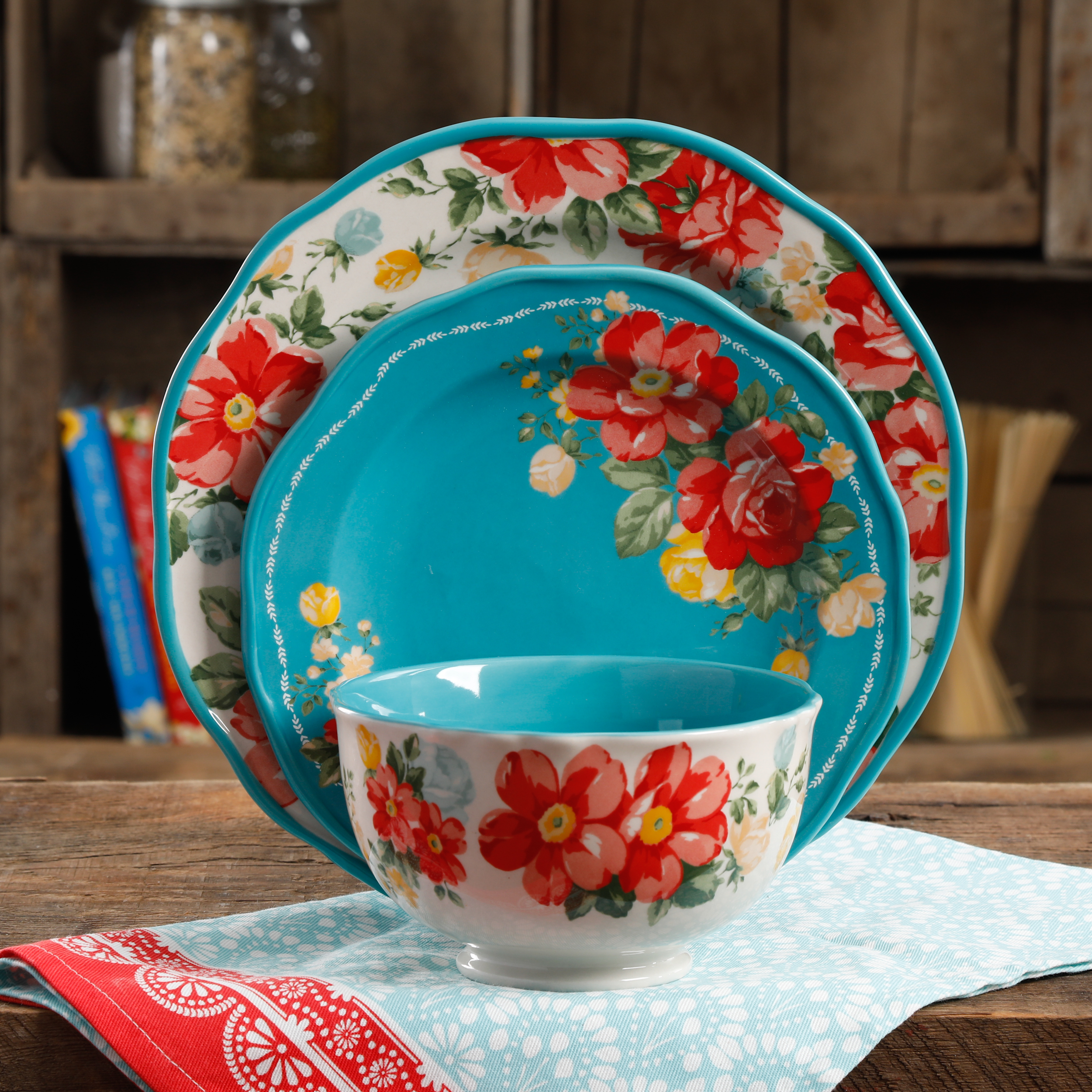 The Pioneer Woman Vintage Floral 12Pc Dinnerware Set Walmart Exclusive