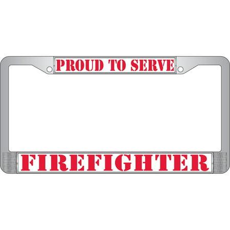 Firefighter Chrome License Plate Frame - Walmart.com