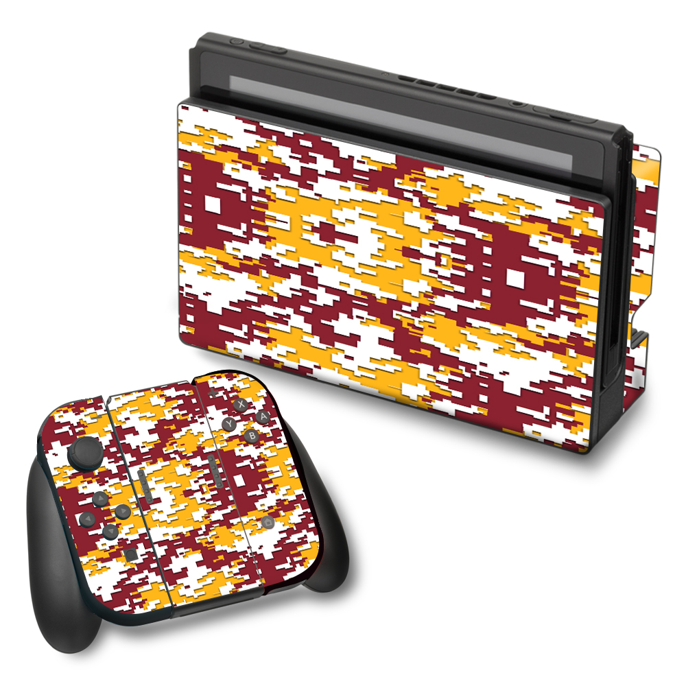 Skin Decal For Nintendo Switch Vinyl Wrap / Digi Camo Team Colors Camouflage Red White Yellow
