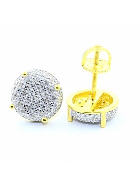 11mm Wide Round Stud Earrings Mens 0.15cttw Yellow Gold-Tone Screw Back(0.15cttw)