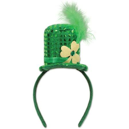 Saint Patrick's Day Green Sequin Leprechaun Hat Head Headband Costume Accessory