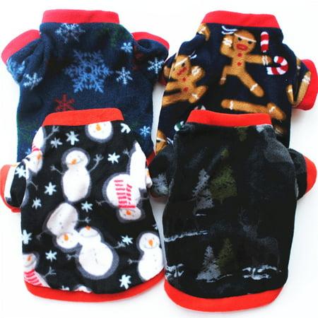 Girl12Queen Dog Doggie Cat Christmas Elk Snow Print Polar Fleece Warm T-Shirt Pet Clothes