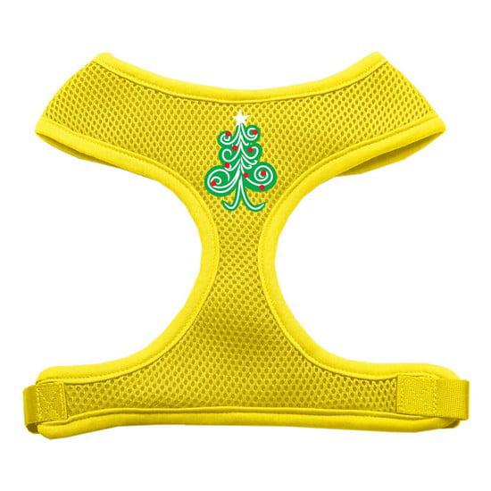 Swirly Christmas Tree Screen Print Soft Mesh Harness Yellow Small