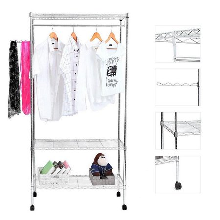 Ktaxon Sturdy Shelving Garment Rack Rolling Clothes Rack for Closet Organizer Movable Wardrobe with 3 Adjustable Shelves and Side Hanger