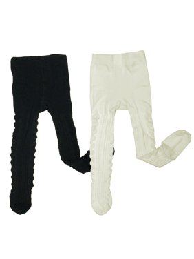 Wrapables Warm Cable Knit Tights for Toddler Girls (Set of 2), Cream and Black (4-5y)