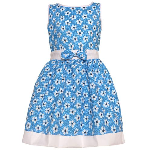 Little Girls Royal Blue Floral Dot Pattern Bow Accented Sleeveless Dress 2T-6X