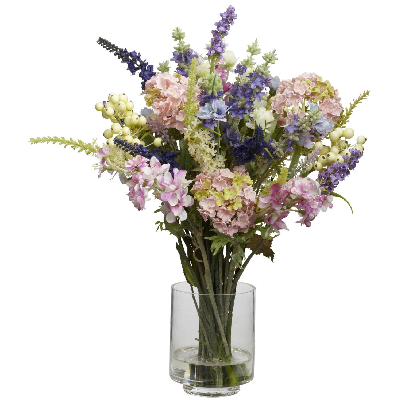 Lavender Hydrangea Silk Flower Arrangement