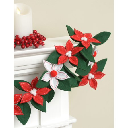 Holiday Time Christmas Poinsettia Felt Garland Trimming Decoration, - Christmas Mantel Decorations